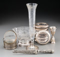 Silver Holloware, American:Other , Seventeen Various Silver, Silver-Plated, and Glass Tablewares, 20thcentury. Marks: (various). 10-3/4 inches high (27.3 cm) ... (Total:11 Items)