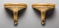Decorative Arts, Continental:Other , A Pair of Giltwood and Painted Faux Marble Brackets. 11-3/8 h x13-1/8 w x 7 d inches (28.9 x 33.3 x 17.8 cm). PROPERTY OF...(Total: 2 Items)