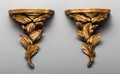 Decorative Arts, Continental:Other , A Pair of Carved Giltwood Brackets. 11-3/8 h x 9-1/2 w x 5 d inches(28.9 x 24.1 x 12.7 cm). PROPERTY OF A DALLAS GENTLEMA... (Total: 2Items)