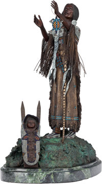 Harold Shelton (American, 1918-1999) Blessed by the Sun Bronze with polychrome 25-1/2 inches (64