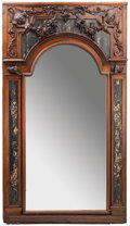 Furniture : Continental, A Large Continental Renaissance Style Carved Oak and Marble InlaidHall Mirror, early 20th century. 90 inches high x 53-3/4 ...