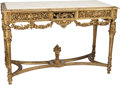 Furniture : Continental, A Louis XVI-Style Giltwood and Carrara Marble Salon Table. 35-1/8 hx 52 w x 23-1/2 d inches (89.2 x 132.1 x 59.7 cm). ... (Total: 2Items)