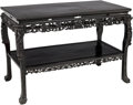 Furniture : Continental, A Chinese Carved Chinese Ebonized Wood Console with Flora and FaunaMotif. 32 inches high x 47 inches wide x 24 inches deep ...