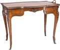 Furniture : Continental, A Louis XV-Style Mahogany, Satinwood, and Gilt Bronze Tea Table. 27h x 36-1/4 w x 22-1/2 d inches (68.6 x 92.1 x 57.2 cm). ...