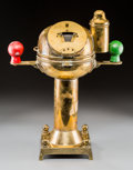 Decorative Arts, Continental:Other , A Brass Ship's Binnacle. 20-1/4 h x 15-1/2 w x 8 d inches (51.4 x39.4 x 20.3 cm). ...