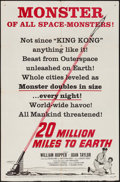 "Movie Posters:Science Fiction, 20 Million Miles to Earth (Columbia, 1957). One Sheet (27"" X 41"")Style B. Science Fiction.. ..."