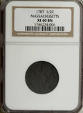 1787 1/2 C Massachusetts Half Cent XF40 NGC. Ryder 4-C, R.2. Most of HALF CENT is clear on this evenly circulated exampl...