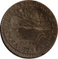 Colonials: , 1786 COPPER Vermont Copper, VERMONTENSIUM XF45 NGC. RR-7, Bressett 5-E, R.3. This deep brown piece has a bold landscape and...