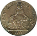 Colonials: , 1781 TOKEN North American Token AU55 PCGS. Breen-1144. This Dublincopper issue was exported to North America, the same jou...