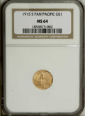 Commemorative Gold: , 1915-S G$1 Panama-Pacific Gold Dollar MS64 NGC. Nice lusterradiates from peach-gold surfaces. Exceptionally well struck, a...