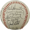Autographs:Baseballs, 1982 Kansas City Royals Team Signed Baseball. The current offeringputs twenty-four signatures from the 1982 Kansas City Ro...