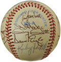 Autographs:Baseballs, 1984 Minnesota Twins Team Signed Baseball. Offered here on theleather of the provided OAL (Brown) orb we present twenty-tw...