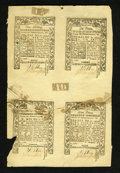 Colonial Notes:Rhode Island, Rhode Island May 1786 Uncut Sheet of Four. This sheet consists ofone each of the 1s, 6d, 2s6d, and 9d notes. Were the sheet...