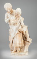 Decorative Arts, Continental:Lamps & Lighting, A Carved Marble Figural Lamp. 22 h x 11 w x 8 d inches (55.9 x 27.9x 20.3 cm). ...