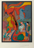 Fine Art - Work on Paper:Print, Mihail Chemiakin (Russian, b. 1943). Anonymous Kiss andCircus Performers. Lithographs in colors on paper. 28 x 20i... (Total: 2 Items)