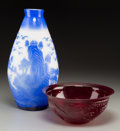 Asian:Chinese, A Chinese Ruby Red Peking Glass Bowl with Blue and White PekingGlass Vase. 3-3/4 inches high x 8-3/4 inches diameter (9.5 x...(Total: 2 Items)