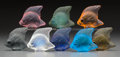 Art Glass:Lalique, Eight Lalique Colored Glass Angelfish, post-1945. Marks:Lalique, France. 1-3/4 inches high (4.4 cm). ... (Total: 8Items)