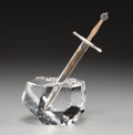 Art Glass:Steuben, A Steuben Silver and 18K Gold Excalibur Letter Opener withGlass Base, Corning, New ...
