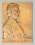Bronze:American, A Victor David Brenner Bronze Plaque Depicting Abraham Lincoln.3-1/2 inches high x 3-5/8 inches wide (8.9 x 9.2 cm). PROP...