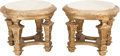 Furniture , A Pair of Louis XVI-Style Giltwood and Travertine Marble-Topped Side Tables. 21 inches high x 24-1/2 inches diameter (53.3 x... (Total: 2 Items)
