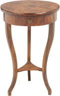 Furniture : Continental, A Biedermeier Mahogany Single-Drawer Side Table. 30 inches high x20 inches diameter (76.2 x 50.8 cm). PROPERTY FROM THE R...