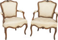 Furniture : French, A Pair of Louis XV Upholstered Walnut Fauteuils, circa 1755. 34 h x23-1/2 w x 22 d inches (86.4 x 59.7 x 55.9 cm). PROPER...