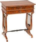 Furniture : Continental, A Biedermeier Neoclassical Mahogany Work Table with Lyre Motif, 19th century. 29 h x 25 w x 17-1/2 d inches (73.7 x 63.5 x 4... (Total: 2 Items)