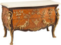 Furniture : Continental, A Louis XV-Style Marquetry Commode with Figural Bronze Mounts andMarble Top. 36 h x 55 w x 25 d inches (91.4 x 139.7 x 63.5...(Total: 2 Items)