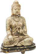 Asian:Chinese, A Chinese Carved Hardstone Seated Buddha Figure on Lacquered WoodBase. 35-1/2 inches high (90.2 cm) (figure). 40-1/2 inches...(Total: 2 Items)