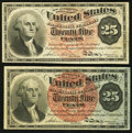 Fractional Currency:Fourth Issue, Fr. 1302 25¢ Fourth Issue About New;. Fr. 1303 25¢ Fourth IssueVery Fine.. ... (Total: 2 notes)