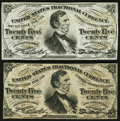 Fractional Currency:Third Issue, Two Fr. 1294SP 25¢ Third Issue Narrow Margin Face Notes ChoiceAbout New or Better.. ... (Total: 2 notes)
