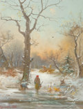 Fine Art - Painting, European, Oswald (19th Century). A Winter Walk, 1888. Mixed media onpaper. 11-1/2 x 9 inches (29.2 x 22.9 cm)...
