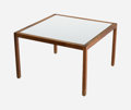 Furniture , A Lewis Butler for Knoll International White Formica and Walnut Side Table, circa 1960. 17 h x 26-1/2 w x 26-1/2 d inches (4...