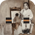 Post-War & Contemporary, Hung Liu (Chinese, b. 1948). Sepia 1900, 1990. Oil on canvas(wood box with gold leaf and two wooden bowls no longer ext...