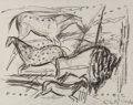 Fine Art - Work on Paper:Drawing, Elaine de Kooning (American, 1919-1989). Untitled (Horses),1984. Charcoal on Rives BFK paper. 22-1/4 x 28 inches (56.5 ...