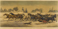 Fine Art - Painting, European:Antique  (Pre 1900), Currier & Ives (American, 1834-1907). Trotting Cracks on theSnow, 1858. Lithograph in colors. 18-1/2 X 28-1/8 inche...