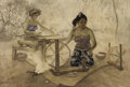 Asian:Other, Fong Huang (1936-2004). Weaving, 1987. Oil on canvas. 28 x43-1/2 inches (71.1 x 110.5 cm). Signed and dated lower left:...