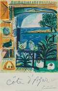 Fine Art - Work on Paper:Print, After Pablo Picasso . Cote d'Azur, 1962. Lithograph incolors on wove paper. 39 x 25-3/4 inches (99.1 x 65.4 cm)(sheet)...