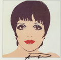 Fine Art - Work on Paper:Print, After Andy Warhol . Liza Minelli, circa 1979. Offsetlithograph in colors on paper. 9 x 8-1/2 inches (22.9 x 21.6 cm)(s...