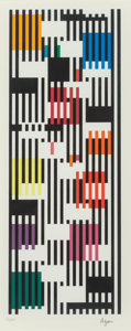 Fine Art - Work on Paper:Print, Yaacov Agam (b. 1928). Untitled, from the Tapestry Suite,n.d.. Screenprint in colors on wove paper. 21-1/4 x 8-3/4 inch...