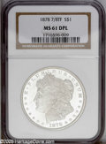 Morgan Dollars: , 1878 7/8TF $1 Strong MS61 Deep Mirror Prooflike NGC. PCGSPopulation: (12/97). NGC Census: (0/9). Numismedia Wsl. Price: $...