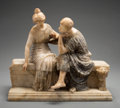 Sculpture, An Italian Carved Alabaster and Marble Figural Group of a Courting Couple, circa 1900. Marks: (signed indistinctly front lef...