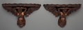 Decorative Arts, Continental:Other , A Pair of Carved Pine Figural Wall Brackets. 15-1/2 h x 27-1/2 w x 11-1/8 d inches (39.4 x 69.9 x 28.3 cm). ... (Total: 2 Items)