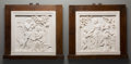 Decorative Arts, Continental:Other , A Pair of Framed and Carved Italian Carrara Marble NeoclassicalPanels. 24-3/4 inches high x 27 inches wide (62.9 x 68.6 cm)...(Total: 2 Items)