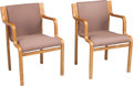 Furniture : American, A Pair of Stendig Upholstered Bent Elm Wood Stackable Armchairs,designed by Lindau and Lindekrantz, New York, mid-20th cent...(Total: 2 Items)
