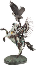 Fine Art - Sculpture, American, Harold Shelton (American, 1918-1999). Spirit Brothers, 1981.Bronze with polychrome. 54-1/2 inches (138.4 cm) high on a ...
