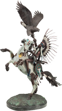 Harold Shelton (American, 1918-1999) Spirit Brothers, 1981 Bronze with polychrome 54-1/2 inches (