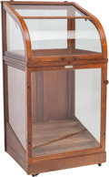 Furniture , An American Oak and Glazed Walking Stick Display Case, circa 1900. 53-1/2 h x 27 w x 24-1/2 d inches (135.9 x 68.6 x 62.2 cm...