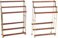 Furniture : American, Two Mahogany and Brass Walking Stick Racks, early 20th century.35-1/4 h x 24-1/2 w x 8-1/4 d inches (89.5 x 62.2 x 21.0 cm)...(Total: 2 Items)