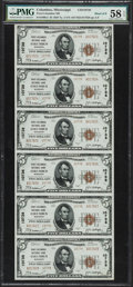 National Bank Notes:Mississippi, Columbus, MS - $5 1929 Ty. 2 First-Columbus NB Ch. # 10738 UncutSheet. ...
